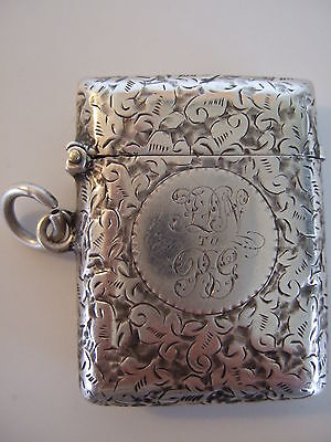 Victorian Sterling Silver Engraved Lift-Top Vesta Box, Birmingham 1876