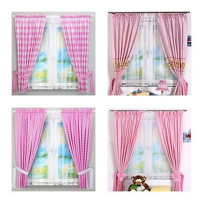 Luxury 2 Piece Baby Bedroom Curtains Sets With Tie Backs Pink