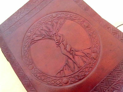 Leather Journal Vintage Look Handmade Wicca Diary Male Female Tree Of Life Book