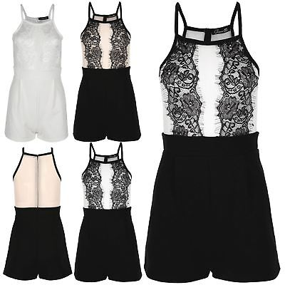 Womens Ladies Zip Back Sleeveless Floral Lace Mesh Playsuit Jumpsuit All In One
