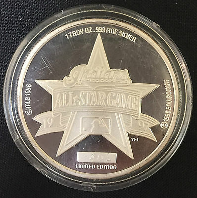 1997 Indians All Star Game 1 Troy Oz .999 Fine Silver Round *Limited Proof*