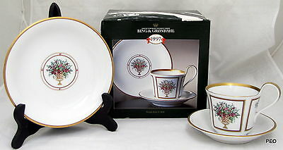 Bing & Grondahl 1997 Holiday Set Cup Saucer Tea Plate Gold Trim First Issue