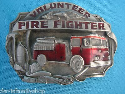 "Volunteer Firefighter 1989 Siskiyou V-85-S Fire Truck Belt Buckle 3 1/4 ""L 2 1""H"
