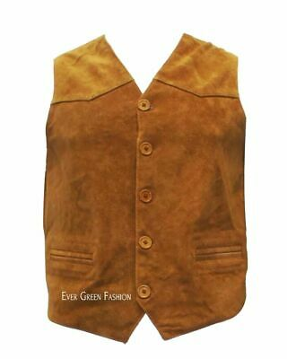 Men's CLASSIC designer good looking TAN colour Real Soft SUEDE Leather Waistcoat