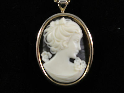 Vintage Plastic Lucite Faux Tortoise Shell Cameo Necklace Gold Tone Chain