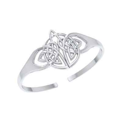 Celtic Knotwork .925 Sterling Silver Bangle Cuff Bracelet by Peter Stone