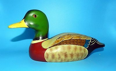Jane Evans 1981 Signed Hand Carved Wood & Painted Duck Mallard Decoy Glass Eyes