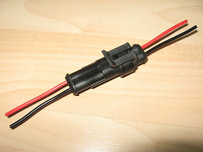 Weatherproof Automotive Connector Pair 2-pin Male/Female 10Amps 18AWG #E38Q