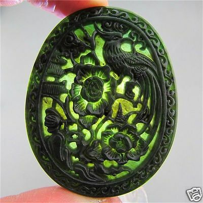 Chinese Natural black green jade hand-carved phoenix pendant necklace