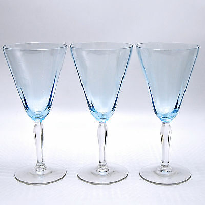 Fostoria 5082 5282 Blue Crystal Water Goblets Glassware Set of 3 Circa 1926 1927
