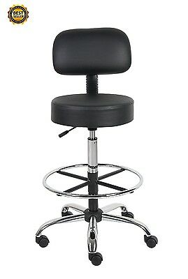 Medical Lab Drafting Stool Back Cushion Dentist Adjustable Chair Office Doctor