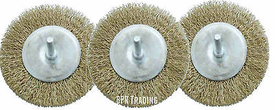 """3pc 4"""" 100mm Rotary Wire Wheel Clean Rust Paint Scale Dirt Power Drill Brush New"""