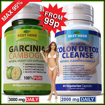 Garcinia Cambogia 95% + Colon Detox Cleanse Diet Weight Loss Slimming Capsules