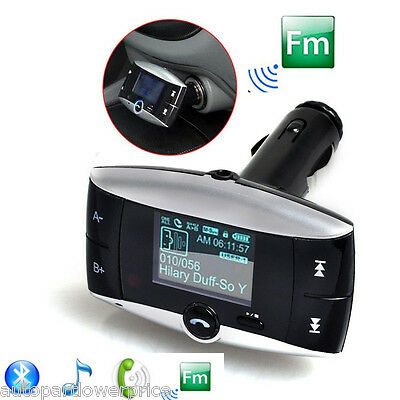 Bluetooth FM Transmitter Speaker-Phone Car Charger USB SD MP3 For All Cellphones