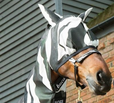 Bucas Zebra Print Buzz-Off Eye/Ears Protection Soft Adjustable Fly Mask