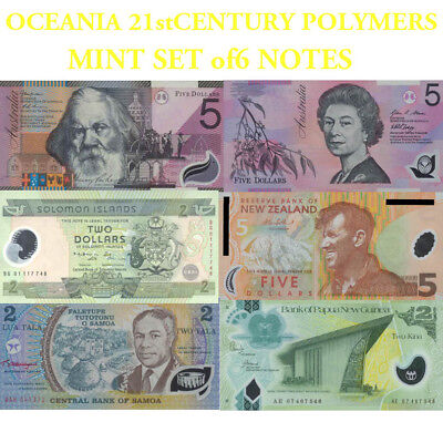 Australian &South Pacific Mint Polymer Banknotes SET 21st Century variety Issues