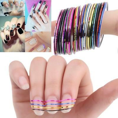 10/30 Pcs Mixed Colors Rolls Striping Tape Line Nail Art Tips Decoration Sticker