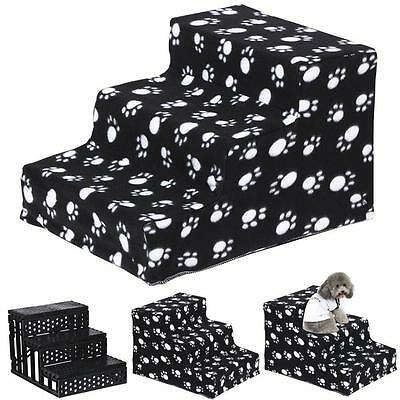Portable 3 Steps Dog Puppy Cat Ladder Doggy Pet Soft Stairs Ramp&Washable Cover