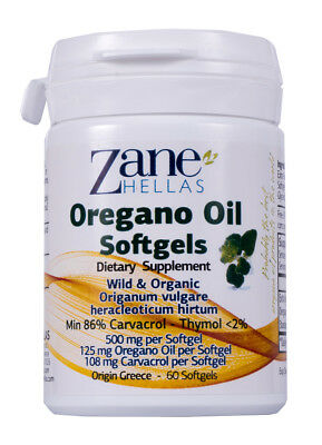 Oregano Oil Softgels. Concentrate 4:1 Provides 108 mg Carvacrol per Serving.