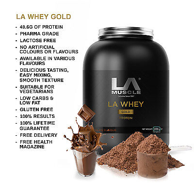 LA Muscle LA Whey Gold 908g 50g of 100% Pure Whey Protein  RRP £50