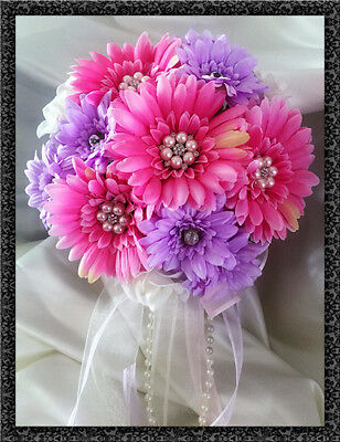 Bridesmaids Wedding Posy Bouquet, Pink/lilac Gerberas