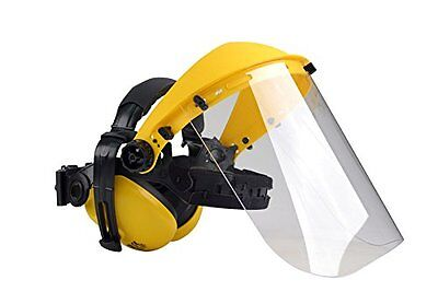 Ear and Face Protector Combination for Strimming