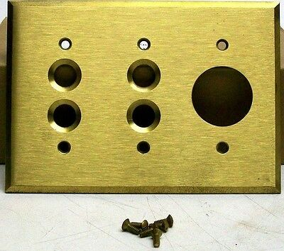 Nos Vintage 2 Switch 1 Outlet Solid Brass Wall Plate Without Door W/screws Dm