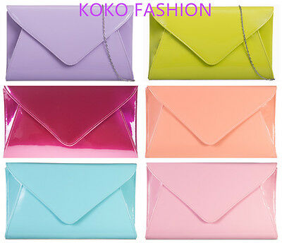 Large Patent Evening Clutch Handbag Party Prom Wedding Bags Purse 19 Colors 5090