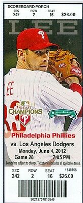 2012 Phillies vs Dodgers Ticket: Placido Polanco hit a tying, two-run homer