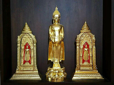Gilt Bronze Buddha Set 3 Contain Relics Magnificent Thai Amulet Wealth