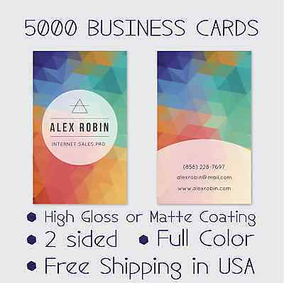 5000 Full Color Double Sided Custom Business Cards - Real Printing Free Shipping