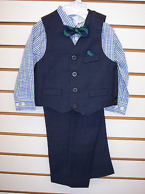 Infant Boys Starting Out 4pc Navy & Green Vest Suit Size 24 Months