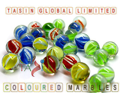100 Coloured Glass Marbles Kids Traditional Toys Classic Retro Gift Games Party