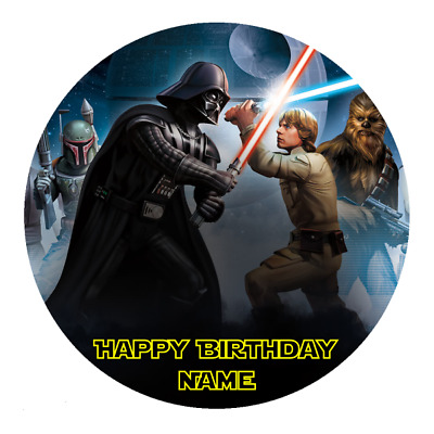 Star Wars Personalised Edible Birthday Party Cake Decoration Topper Round Image