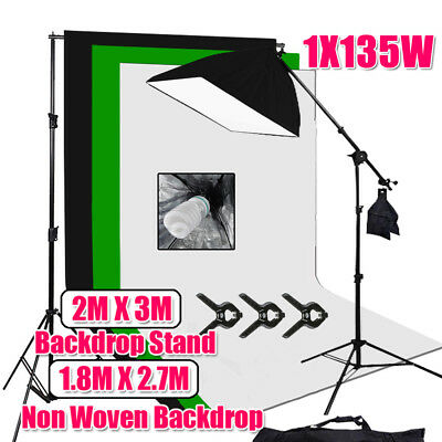 135W Bulb Photography Studio Softbox Lighting Boom Arm Light Backdrop Stand Kit