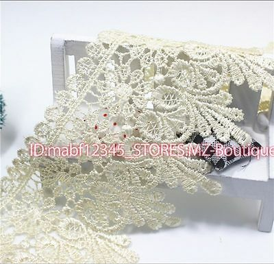FP54E 1 Yards Lace Trim Ribbon For Dress Skirt Veil Embroidered DIY Sewing Craft