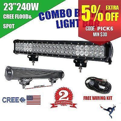 240W 23Inch Led Cree  Work Light Bar Flood Spot Combo Offroad Lamp