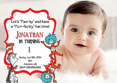Dr. Seuss Birthday Invitations Print your own Cat in the Hat Party Invitations
