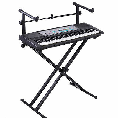 UK Pro Adjustable 2Tier X Style Dual Keyboard Stand Electronic Piano Double Hot