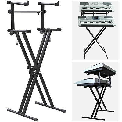 Pro Adjustable 2-Tier X Style Dual Keyboard Stand Electronic Piano Double New SA