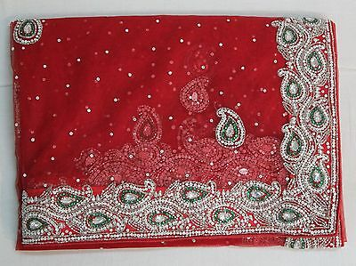 indian bollywood designer women hand crafted saree sari wedding party dress