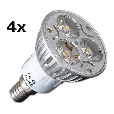 4X E14 3W 3 LED warmweiss Energiesparstrahler Spot-Licht Lampe 230V GY