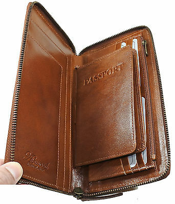 Leather Travel Wallet Passport Currency Credit Cards Holder Chestnut
