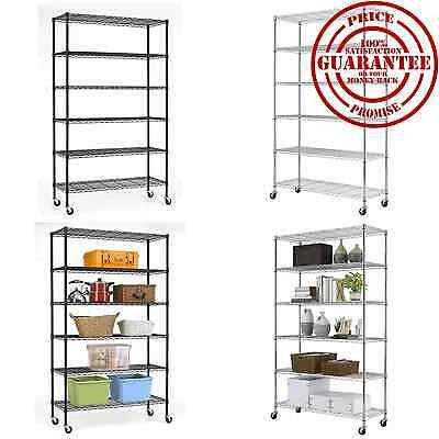 Commercial 6 Tier Layer Shelf Steel Wire Shelving Adjustable Rack Storage NEW
