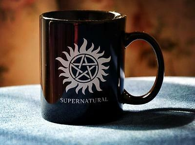 TV Serious Supernatural Mug Cup Pentacle Logo Black Ceramics 1pc