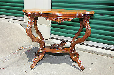 Fabulous Solid Walnut Victorian Rococo Turtle-Shaped Dog Table ~Ca.1870