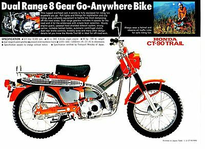 1972 HONDA CT90K4 Trail 1 page Motorcycle Brochure NOS