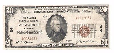 $20 1929 Milwaukee Wisconsin WI National Currency Bank Note Bill RARE PM181