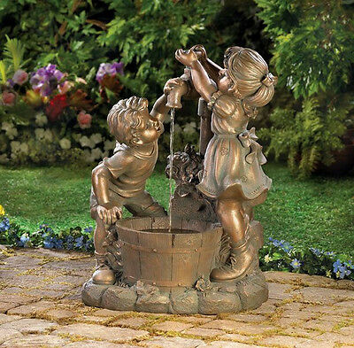 Fun and Play Water Fountain, Beautiful bronze-look fountain, 2 Childern at Play