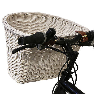 White Wicker Bicycle Basket Brown Leather Adjustable Straps Bike/Cycle Shopping